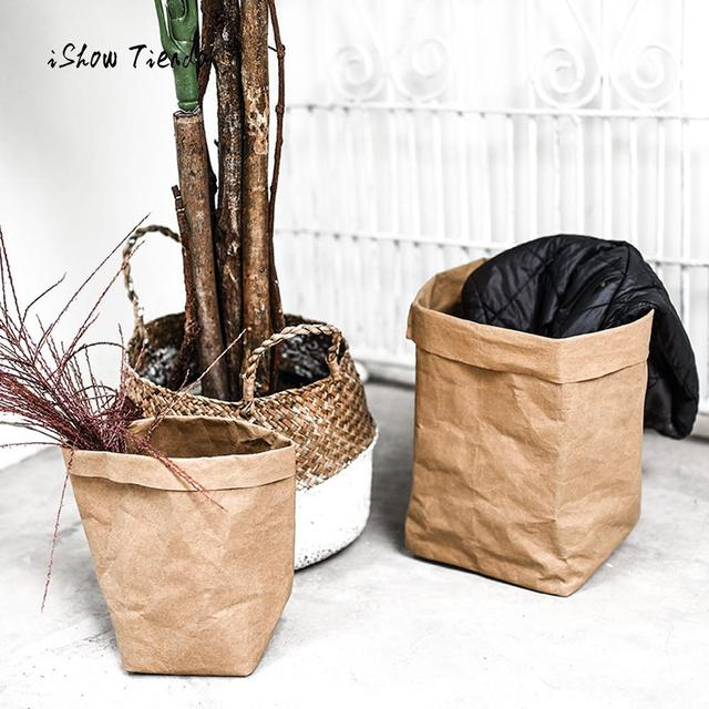 Washable Kraft Paper Bag Fashion Plant Flowers Pots Multifunction Home Storage Bag Gift Package High Quality Storage Bags