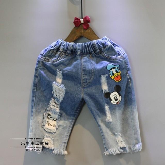 2016 Nuevos Niños Del Verano Poco A Poco Decoloración Agujero pantalones Vaqueros de Las Muchachas Pantalones de Agujeros