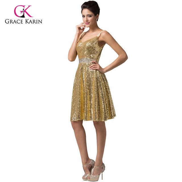 Gold Short Evening Dresses