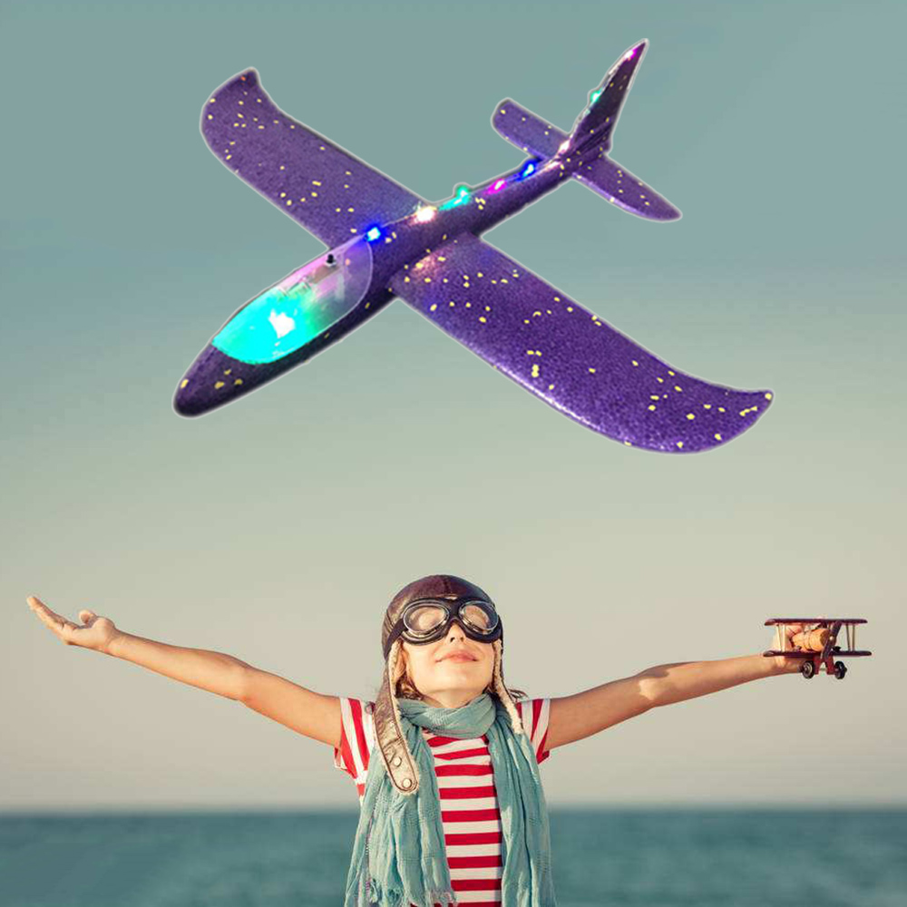 DIY Airplane Kids Toys Hand Throw Flying Glider Plane Foam Aeroplane Model Night Lamp Party Fly Plane Toy Child Aircraft Game image