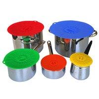 5 Pçs/set Selo de Silicone Capas para tigelas Panelas Peças tampa tampas de vedação De alimentos Da Cozinha preservação fresco-mantimento Organizador Coisas