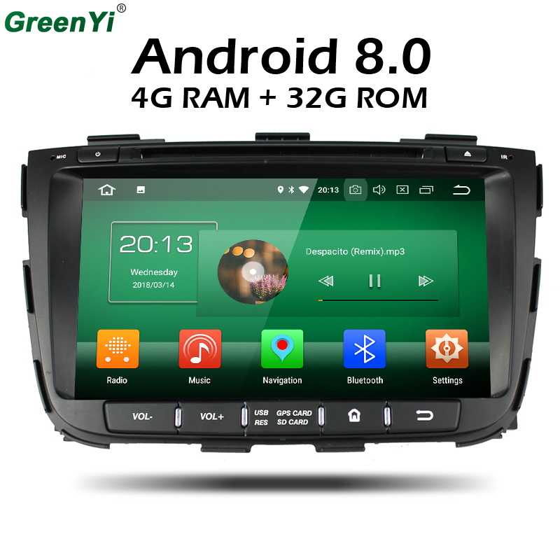 GreenYi Android 8.0 8 Core 4GB RAM Car DVD GPS For For Kia Sorento 2012 2013 2014 2016 WIFI Autoradio Multimedia Stereo germany in stock android 8 0 car dvd 2 din autoradio for kia ceed 2013 2014 2015 2016 4gb ram 8 ips multimedia gps navigation