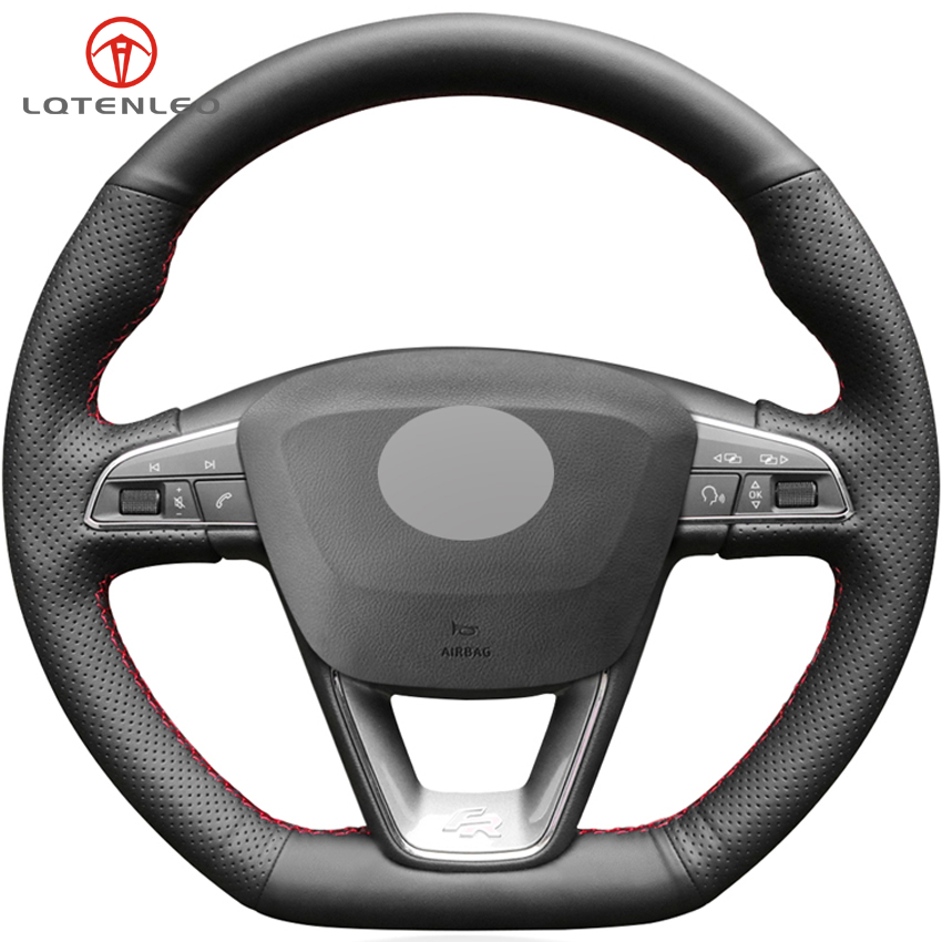 LQTENLEO Black Genuine Leather Car Steering Wheel Cover For Seat Leon Cupra R Leon ST Cupra