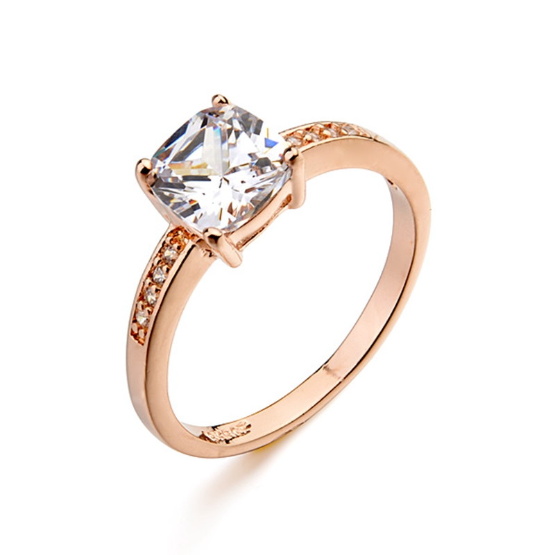 delicated square cubic zircon diamond ring 18k rose gold platinum plated wedding ring jewelry for women - Where To Sell Wedding Ring