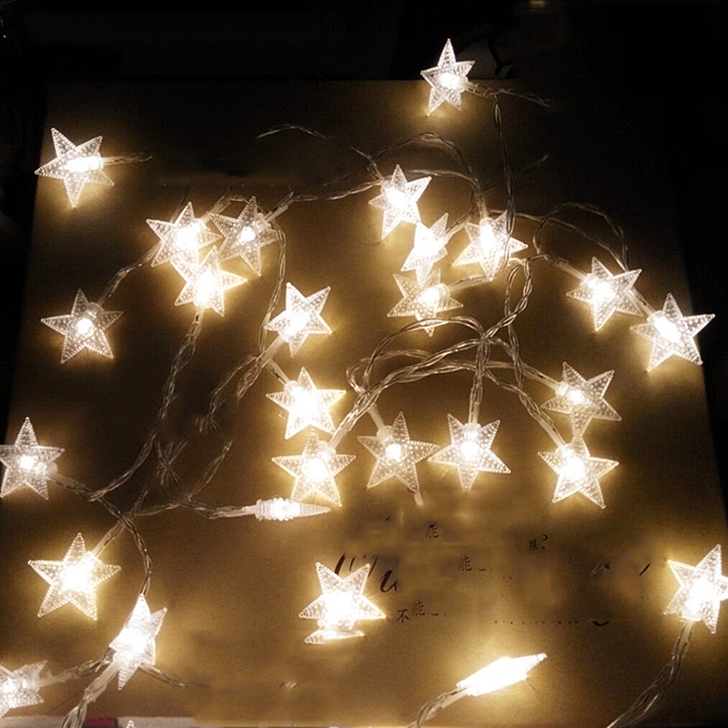 4M 40 LED Party Fairy Lights Battery Operated Five-pointed Star LED string lights for Home Wedding Xmas Party Decoration