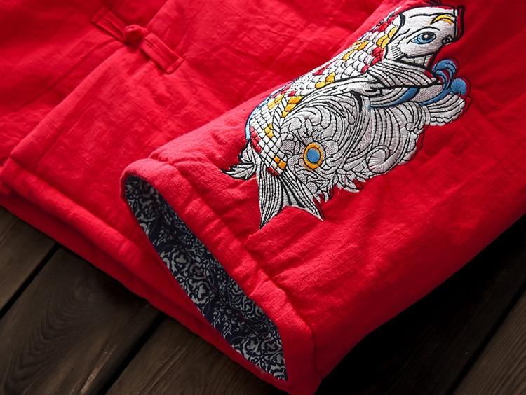 Plus rouge Doux Parkas Coton Style Chinois Manteau 2018 Lin Rétro Femmes Linge Broderie Noir Chaud Le Rembourré Hiver D'origine wfxXgUqx