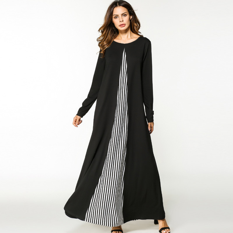 2017 Islamic Muslim Cotton Stitching Striped Long Sleeves Loose Style Plus Size Abayas Dress In Dubai Turkish Ladies Clothing