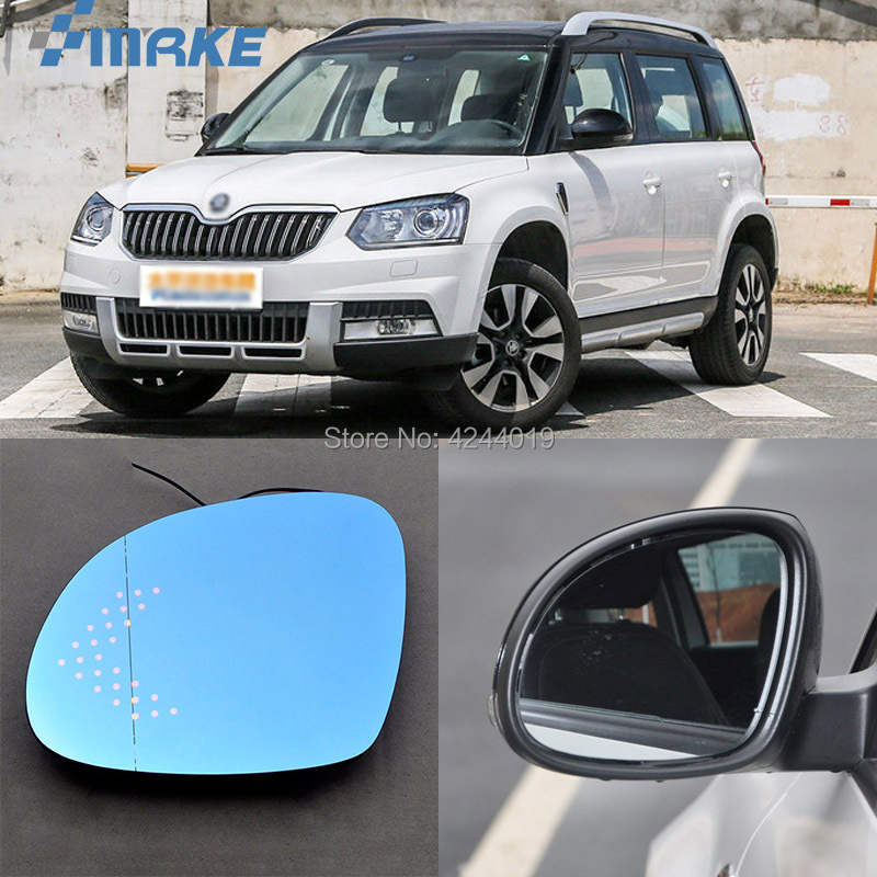 smRKE For Skoda Yeti Car Rearview Mirror Wide Angle Hyperbola Blue Mirror Arrow LED Turning Signal Lights