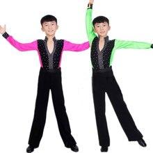 Kind Kinder Jungen Latin Tanzen Für Jungen Cha Cha Schulklasse Latin Kostüme Sets Kid Junge Wettbewerb Latin Kostüme für Jungen