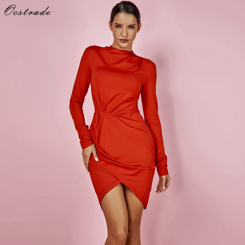 af125408f39 Ocstrade Dropshipping New 2018 Hot Selling Turtleneck Jennifer Lopez  Dresses Celebrity Sexy Ruched Red Long Sleeve