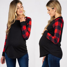 Dollplus New Maternity Tops for Pregnant Women Long Sleeve Pregnant Shirt Plaid Tees Mom Pregnancy T-shirts
