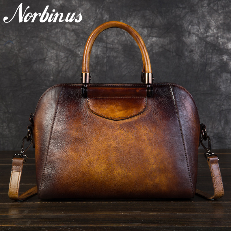Norbinus Women Genuine Leather Messenger Bag Cowhide Crossbody Top Handle Bags Female Vintage Leather Handbag Shoulder Tote Bags vintage style women s genuine leather handbag tote top cowhide shoulder bag clutch evening bag braided handle