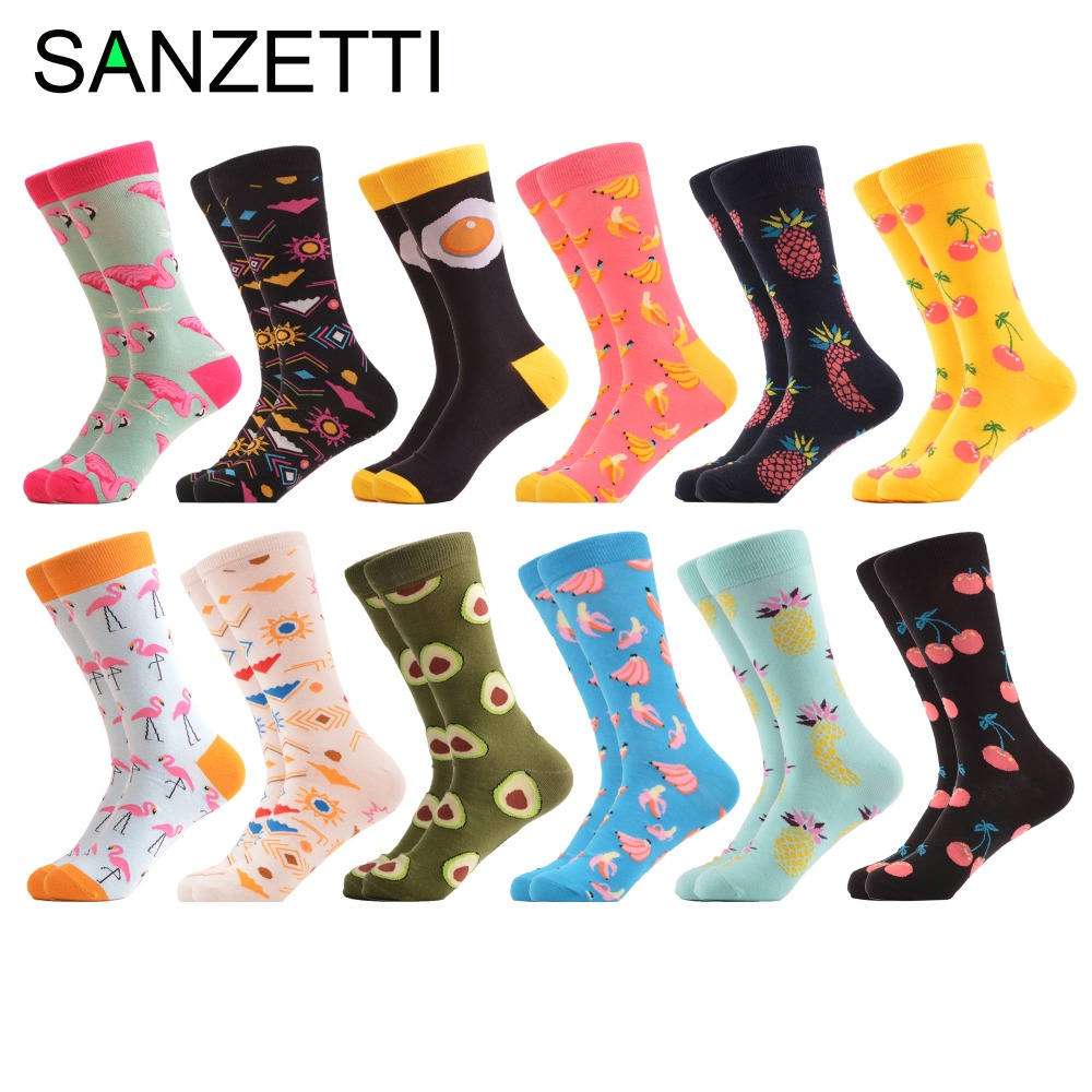 SANZETTI 12 pairs/lot Newest Funny Mens Combed Cotton Causal Wedding Socks Brand Colorful Flamingos Fruit Pattern Party Socks