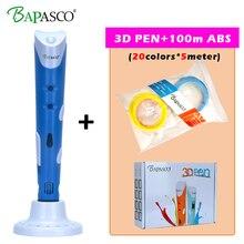 2018 BAPASCO 100A 3D Pen 100Meter ABS Filament EU UK AU US Plug Intelligence Drawing 3d