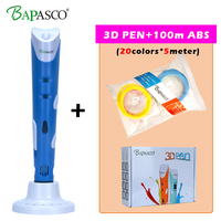 BAPASCO RP100A 3D Pen+100 Meter(20 Color) ABS Filaments EU/UK/AU/US Plug Intelligence Drawing 3d printer pen Best Gift for Kids