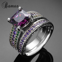 Bamos 2017 Gorgeous Male Female Purple Green Ring Set 925 Sterling Silver Filled Jewelry Vintage Wedding