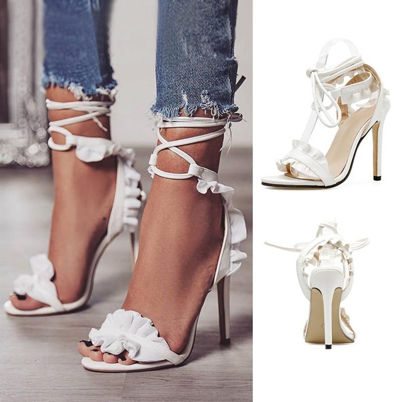 Plus Size 43 Sexy High Heels New Women Shoes Women Pumps Summer Women Sandals Lace Up Women Heels Stiletto Ladies Shoes White