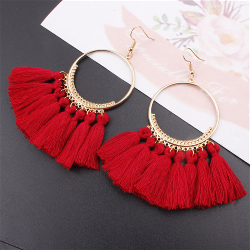 Heat Tassel Earrings For Women Ethnic Big Drop Earrings Bohemia Fashion Jewelry Trendy Cotton Rope Fringe Long Dangle 17 Colors