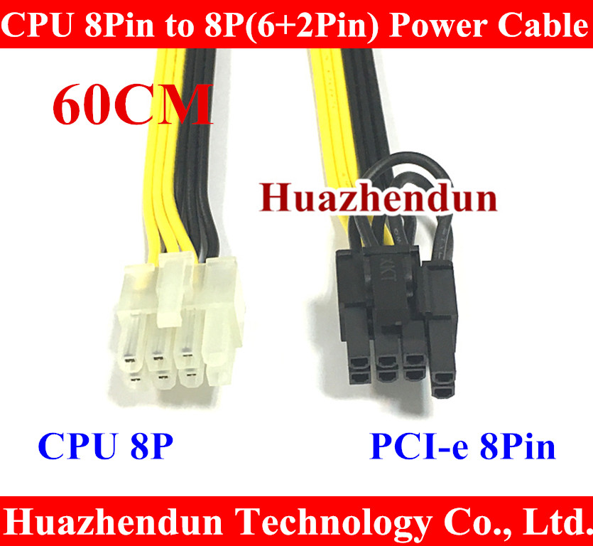 High Qaulity PC DIY CPU 8Pin to Graphics Video Card PCI-E PCIe 8p 8Pin ( 6Pin + 2Pin ) Power Supply Cable Cord 18AWG Wire 60cm 8pin to graphics video card double pci e 8pin 6pin 2pin splitter cable power supply cable for connecting to video cards 30cm