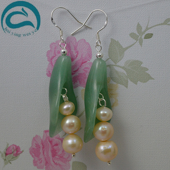Pink Natural Pearl Earrings Freshwater Drop Pearl Green Jade Earrings 925 Silver Fine Jewelry Gift For WomenPink Natural Pearl Earrings Freshwater Drop Pearl Green Jade Earrings 925 Silver Fine Jewelry Gift For Women