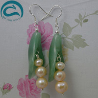 Pink Natural Pearl Earrings Freshwater Drop Pearl Green Jade Earrings 925 Silver Fine Jewelry Gift For Women