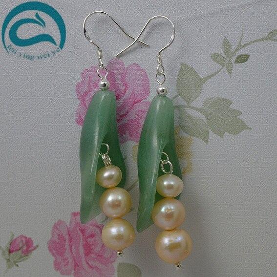 Rosa Natürliche Perle Ohrringe Süßwasser Tropfen Perle Grüne Jade Ohrringe 925 Silber Edlen Schmuck Geschenk Für Frauen-in Ohrringe aus Schmuck und Accessoires bei  Gruppe 1