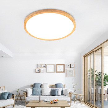 Moderne Simple LED Plafonnier Bois Lumière Japonais Rond Plafonnier Salon Chambre étude Plafond Applique Murale