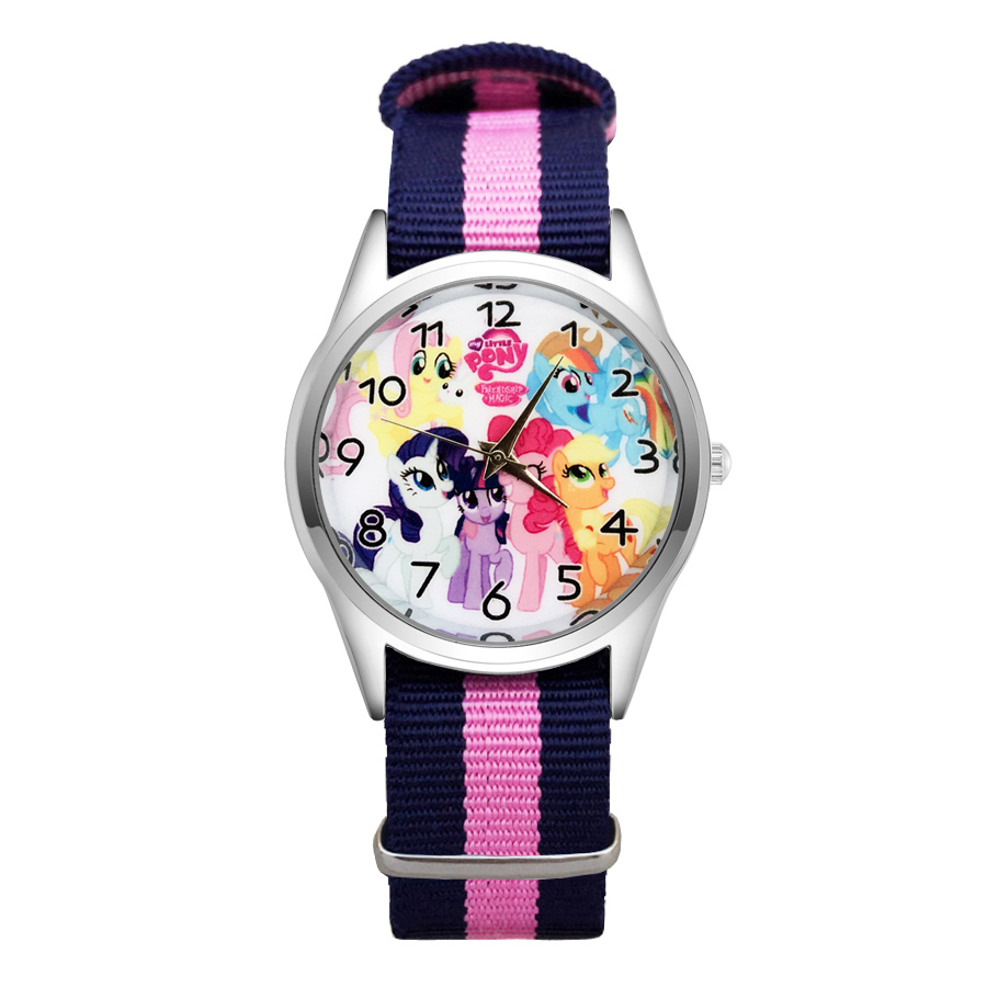 Fashion Cartoon Unicorn horse style Watches Women's Girls Students Boy's Children Nylon Strap Quartz Wrist Watch Clcok JC61