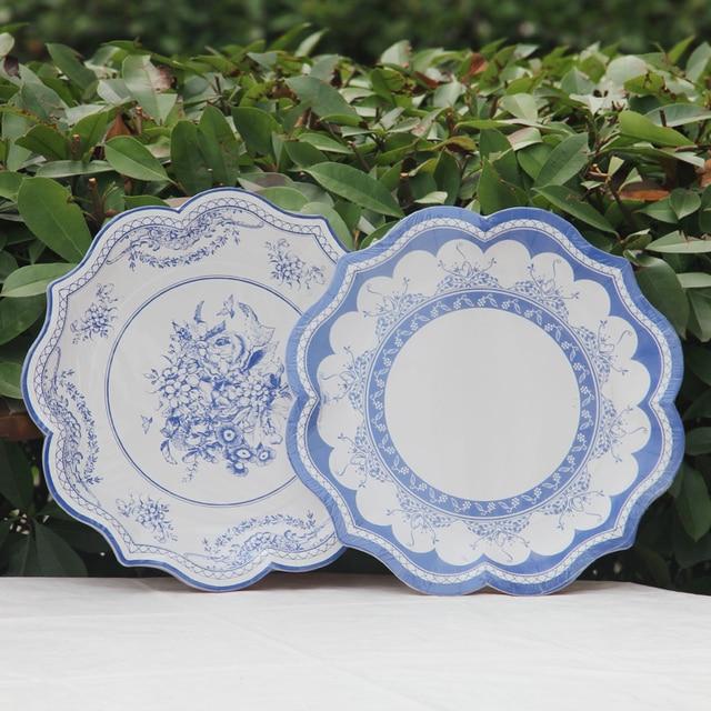 30cm Blue Vintage Flowers Birds Disposable Paper Plates Bbq Large
