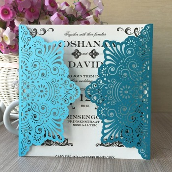 35pcs NEw Laser Cut Ocean Beach Shell pattern Wedding Invitations Cards Elegant Birthday Greeting Card Kits Party Decoration