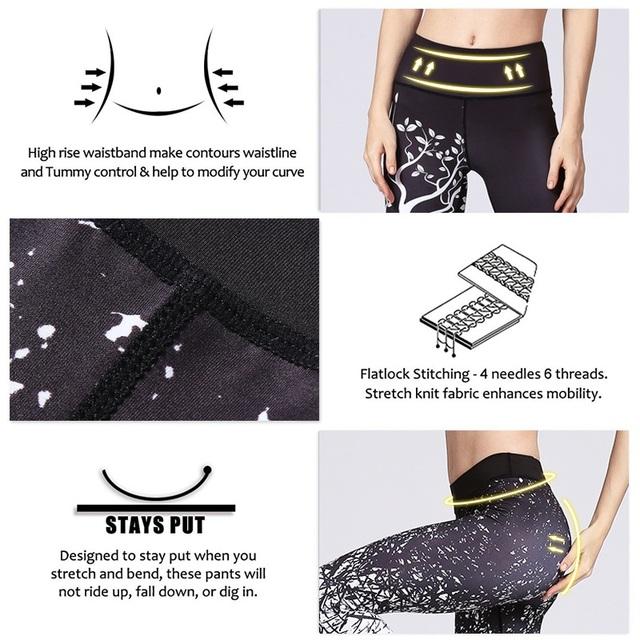 High Waist Tummy Control Printed Yoga Pants