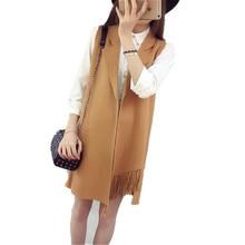 Womens Sweaters Fashion 2016 Autumn Tassel Irregular Sleeveless Cardigan Women Sweater Long Knitted Cardigan Vest Coat A1916