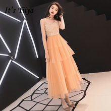 It's Yiiya Prom Dresses Strapless Orange White Ruffles Prom Gowns Ankle-length A-line Plus Size Customized Party Dress E429