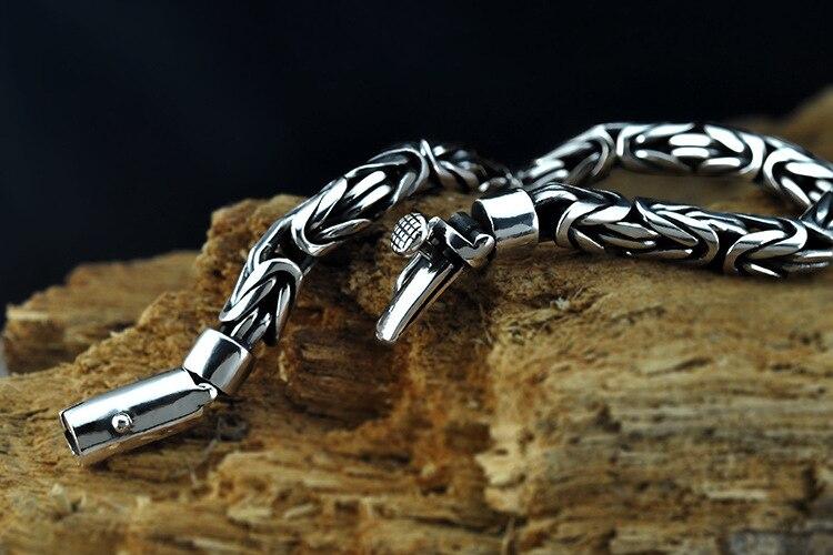 925 argent bracelet simple personnalité homme bracelet créatif couple mode rétro Thai argent bijoux