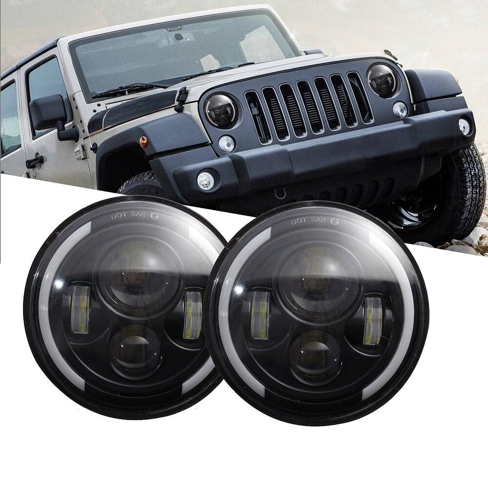 2x 7inch LED Halo Angel Eyes High Low Beam Headlights For Jeep Wrangler JK TJ CJ