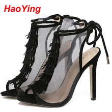 2016 Fashion Women Sandals Tassel Designer Peep Toe High Heels Shoes Women heels Party Shoes Woman Open Toe Lace up Sandals D557