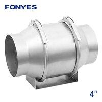 4 inch metal mixed flow inline duct fan pipe exhaust fan ceiling ventilation fan turbo fan air extractor ventilator 220V|Exhaust Fans| |  -