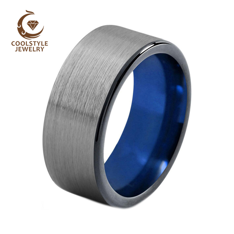 10mm Men' Black Tungsten Carbide Wedding Band Blue Plated Pipe Cut Ring Comfort Fit -in