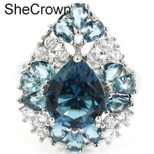 US sz 7.0# SheCrown London Blue Topaz Natural CZ Womans Gift Silver Ring23x18mm