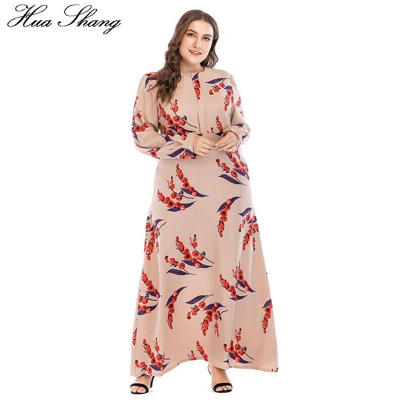 5XL 6XL 7XL Plus Taille Maxi Robe 2018 Femmes Automne Hiver O Cou À Manches Longues Floral Imprimer Causal Robe Longue Tunique Robe Femme