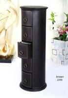Round 5 Drawer Leather Floor CD DVD Cabinet Sundries Container Storage Box Case Organizer Holder Brown