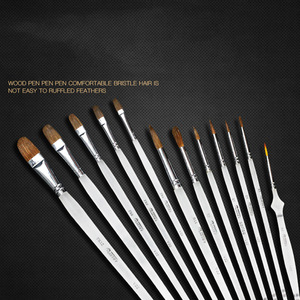 Image 4 - 12 Pcs סמור שיער ארוך אורגני מוט אמן סט מברשת צבע אקריליק שמן ציור בצבעי מים אספקת מקצועי אספקת אמנות