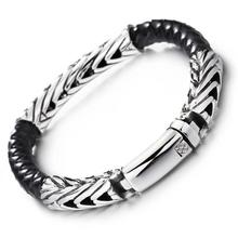 Granny Chic Punk Silver Link Chain Stainless Steel Black Leather Bracelet For Men Fashion Bracelet Gift Jewelry цены
