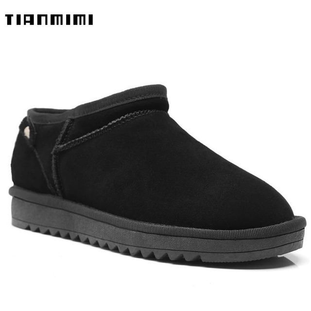 TIANMIMI Winter Australia Ankle Snow Boots Women Shoes Brown Black Beige Suede Leather Booties Cute Kitty Snowshoes