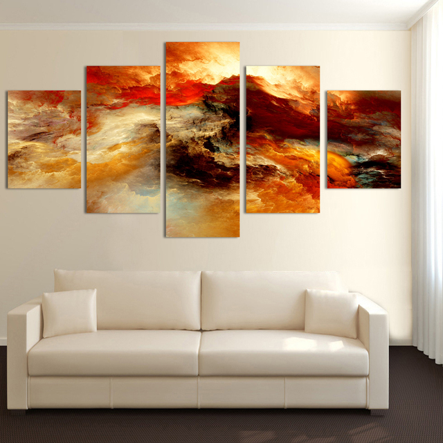Cuadros Fashion 5 Pcs Canvas Art Abstract Painting Color Cloud Wall Decor Pictures No Framed Tableau Peinture Sur Toile Posters