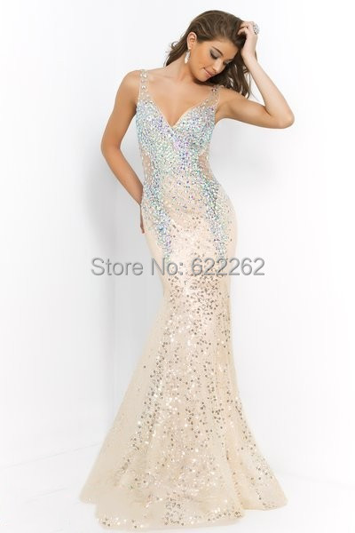 High End V Neck Sequins Crystals Beads Mermaid Prom Dresses Backless