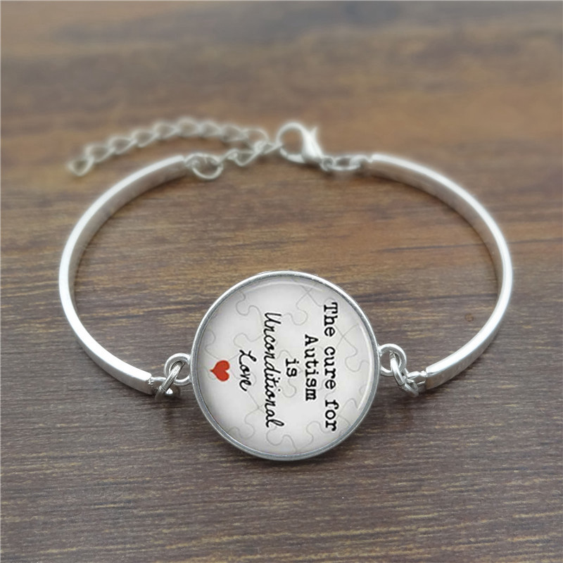 The cure for Autism is <font><b>unconditional</b></font> <font><b>Love</b></font> Glass Dome Lace Charm Bracelet Phrase,Note Photo Design Silver Bangle High Quality