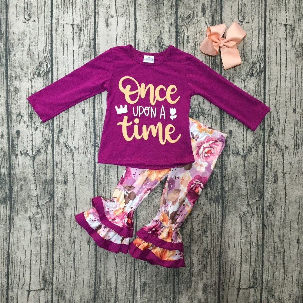 fallwinter baby girls once upon a time outfits plum full sleeve foral children clothes ruffle cotton pant boutique match bow