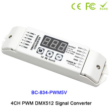 4CH DMX512 led driver controller PWM 5V/PWM 10V signal Signal Converter 3-digital-display shows DC12V-DC24V