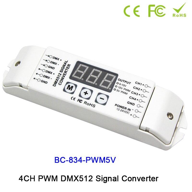 4CH DMX512 led pilote contrôleur PWM 5 V/PWM 10 V signal PWM DMX512 Signal convertisseur 3-affichage numérique montre DC12V-DC24V